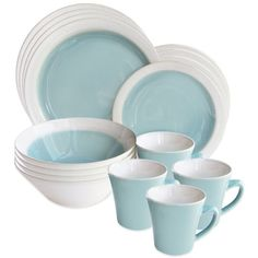 American Atelier Ashbury 16-Piece Dinnerware Set in Green ($67) ❤ liked on Polyvore featuring home, kitchen & dining, dinnerware, stoneware salad plates, stoneware dinner plates, american atelier, microwave safe dinnerware and green stoneware