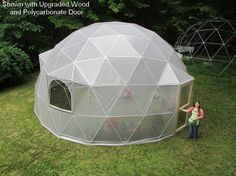 26 ft Geodesic Dome Greenhouse Kit Custom Vinyl door SunriseDomes, $7249.00 woooooooooowwww