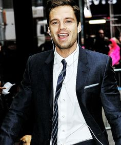 Sebastian Stan walking to GMA, April 4, 2014