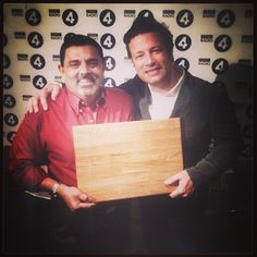 """@Jamie Oliver's photo: """"It was my pleasure to give Cyrus Todiwala the prize for winning the best Cookery personality 2014 at the BBC Food and Farming awards . Such a nice talented kind hearted fella well done mate jamie ox. X"""""""