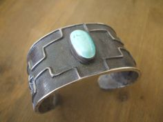 Signed Vintage NAVAJO Heavy Tufa Cast Sterling Silver  TURQUOISE Cuff BRACELET