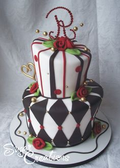 black white and red wedding cakes | black white wedding cake | Reference For Wedding Decoration