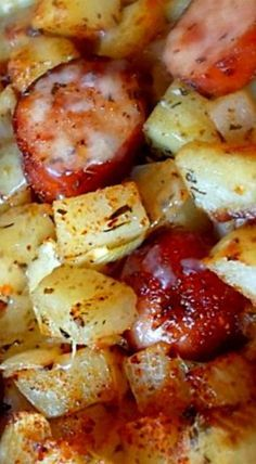 Oven Roasted Smoked Sausage and Potatoes ❊ - Oven Roasted Smoked Sausage and Potatoes ❊ - Polish Sausage Recipes, Easy Sausage Recipes, Easy Casserole Recipes, Pork Recipes, Cooking Recipes, Kilbasa Sausage Recipes, Cooking Games, Cooking Classes, Salmon Recipes