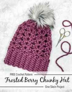 dfc368f8887 Crochet Frosted Berry Chunky Hat - Free Pattern