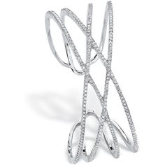 Seta Jewelry 3.75 Tcw Micro-Pave Cubic Zirconia Crossover Cuff... ($101) ❤ liked on Polyvore featuring jewelry, bracelets, white, pave jewelry, silver tone jewelry, bangle cuff bracelet, cuff bangle and pave bangle