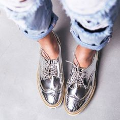 #silver #oxfrods | metallic fashion