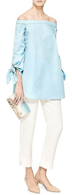 Cotton Poplin Off the Shoulder Top by Tibi