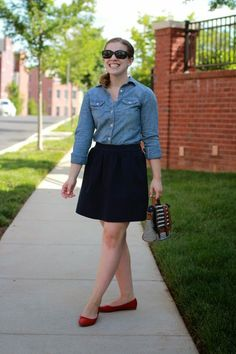 Something Good Blog  @danerinw, chambray shirt, madewell skirt, red flats, lulu*s shoes, american eagle outfitter chambray, women, fashion, style, clothing, spring fashion, red shoes, navy skirt, mini skirt, shirt, button up