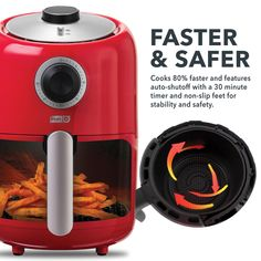 Dash Compact Air Fryer L Electric Air Fryer Oven Cooker with Temperature Control Non Stick Fry Basket Recipe Guide Auto Shut off Feature Red >>> You can find more details by visiting the image link. (This is an affiliate link) Electric Air Fryer, Oven Cooker, Recipe Guide, Mixers, Toaster, Compact, Fries, Image Link, Appliances