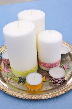 Centro de mesa con velas y cinta washi