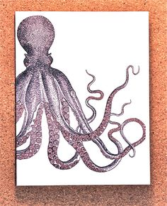 Purple Octopus - Purple and Red Female Octopus - Single octopus art note card for sea lovers