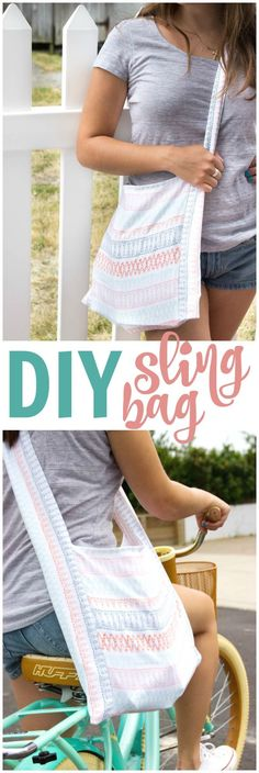Learn how to sew a DIY sling bag perfect for all summer activities. It is so easy to make- only straight lines required. It is a perfect project beginner sewing project.