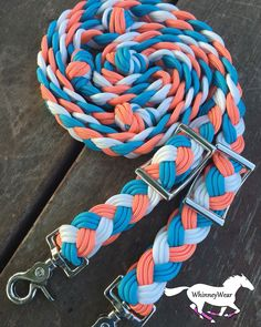 Coral, turquoise and white Braided reins by WhinneyWear Www.Whinneywear.Com