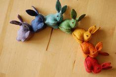 Rainbow Felted Bunnies Set