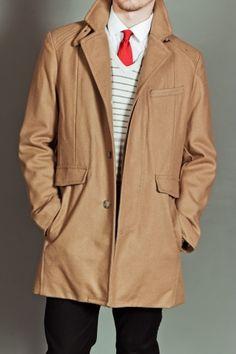 Kenneth Cole Melton Fashion Walker Coat Saddle.
