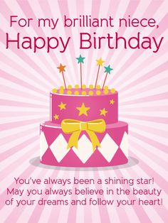 For my Brilliant Niece - Happy Birthday Wishes Dear Sara...Birthdays are for dreams and wishes. Wish your niece the happiest of birthdays with this encouraging birthday message.