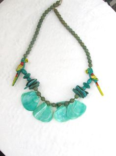 Turquoise Statement Necklace Parakeets And by SunburyVintageStore