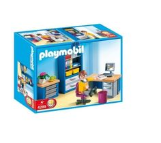 "Playmobil The Home Office by Playmobil USA Inc. $25.85. Material: Plastic. Dimensions: Length: 7.87 ""; Height: 5.91 ""; Width: 2.95 ""; Depth: 2.95 "". Number of Pieces: 43. 7.9 x 5.9 x 3 inches. Care and Cleaning: Wipe Clean With Soap and Water. Pete is sat at the desk with computer, in the study, working hard on his new project! The office features a desk and computer with swivel chair, a bookcase and drawer unit. The Playmobil furniture set comes with 1 Playmobil f..."