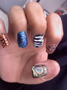 Animal print nail art  tiger, fish scales, zebra, leopard and peacock