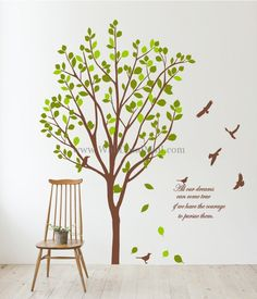 All Our Dreams Tree With Flying Birds Wall Decals – WallDecalMall.com