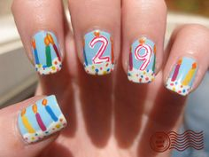Birthday Nails - The Daily Nail What a great idea! Birthday Nail Art, Birthday Nail Designs, Birthday Cake, Birthday Quotes, Birthday Ideas, Happy Birthday, Nails Only, Get Nails, Hair And Nails