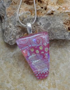 New to GlassCat on Etsy: Pink Fused Glass Pendant Dichroic Fused Glass Pendant Pink Glass Necklace Pink and Sassy Dichroic Pendant (22.50 USD)