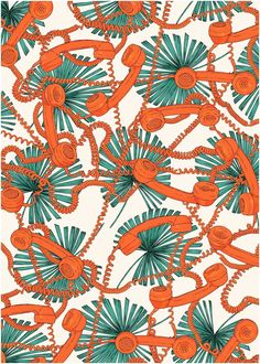 telephones and palm Textile Patterns, Textile Prints, Cool Patterns, Print Patterns, Summer Patterns, Textile Design, Pattern Art, Abstract Pattern, Pattern Design