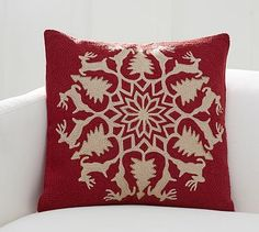 "Reindeer Wreath Embroidered Pillow Cover, 20"", Red Multi"
