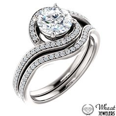 Bypass Round Halo Engagement Ring with Diamond Accents and Matching Wedding Band #engagementring #halo #weddingband