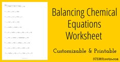Customizable and printable worksheet for practicing balancing chemical equations. Include up to 20 unbalanced chemical reaction equations that are made up of 3 to 6 elements each.