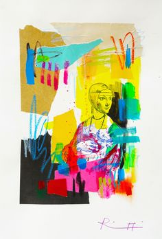 "Davide Ricchetti ""Lady with an Ermine"" , mixed media on paper , 2016"
