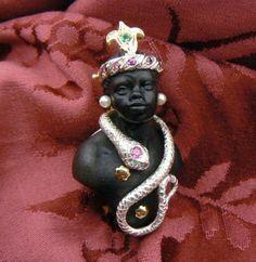 Ebony Venetian Bust Blackamoor Snake - Brooche and pendant in Gold 18 kt and Silver - Rubys emerald - Dogale Jewellery Venice Italia - Price USD 2.200,00 - Euros 1.650,00 www.veneziagioielli.com