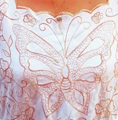 690a011c Vintage Gold Detail Butterfly Embroidered Italian Cotton Summer Dress.  Available to buy on depop.com/lev_store #vintagedress #vintageembroidery # gold ...