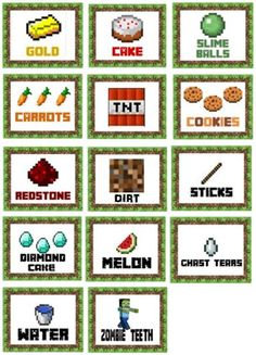 This is a photo of Invaluable Free Printable Minecraft Food Labels