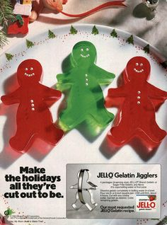 Jell-O Jigglers recipe ad, Christmas Jello Gelatin, Gelatin Recipes, Jell O, 1980s Christmas, Vintage Christmas, Christmas Holidays, Christmas Images, Retro Recipes, Vintage Recipes