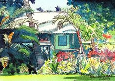 Kauai Plantation Cottage, kauai giclee print, tropical house art, vacation art…