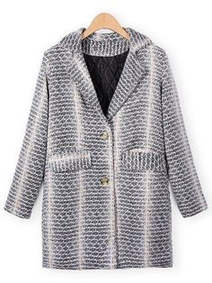 Casual Elegant Lapel Print Pockets Woolen Coat Outwear