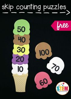 Free skip counting puzzles for 10, 5, 3 and 2. Awesome math center for kindergarten or first grade!