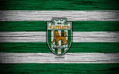Download wallpapers Karpaty Lviv FC, 4k, UPL, logo, soccer, Ukrainian Premier League, football club, Ukraine, Karpaty Lviv, wooden texture, FC Karpaty Lviv