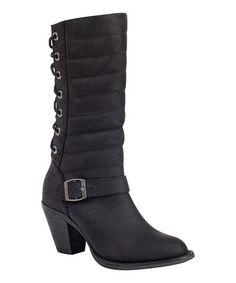 Another great find on #zulily! Moto Black Austin Leather Boot - Women by Durango #zulilyfinds