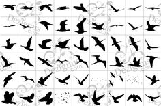 Flying Bird Silhouette Tattoo › Flying Birds Silhouettes Tattoo Style Clipart