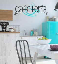 Cafeteria, Wandtattoo, Küche, Wandsticker, zweifarbig, Wandaufkleber, Kaffeebohnen, Kaffeetasse
