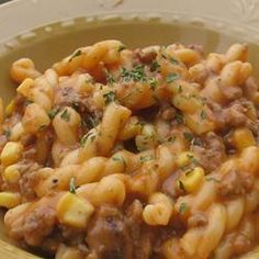 Quick and Easy Goulash Allrecipes.com  Added a can of diced tomatoes, nixed the onion and some seasoning and the family loved it!