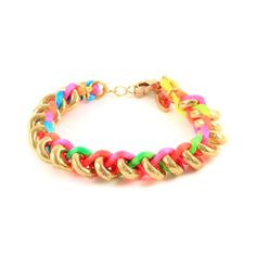 Neon satin cord braided bracelet with gold rings Jewelry Crafts, Jewelry Box, Handmade Jewelry, Jewelry Making, Jewellery, Neon Bracelets, Braided Bracelets, Beach Bracelets, Bangles