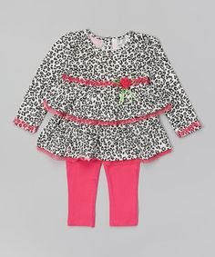 Love this Fuchsia Leopard Tunic & Leggings - Infant, Toddler & Girls by Kids Headquarters on #zulily! #zulilyfinds