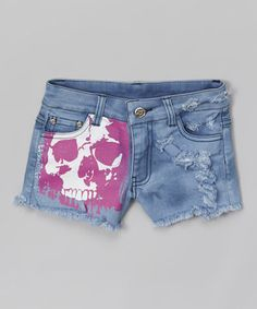 Love this Blue & Pink Skull Denim Shorts by Penelope Wildberry on #zulily! #zulilyfinds