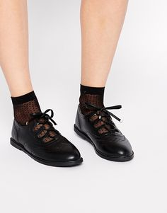 Image 1 of Truffle Collection Rose Ghillie Lace Flat Shoes