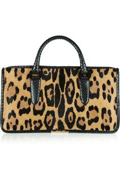 Tamara Mellon|Diglam elaphe-trimmed leopard-print calf hair tote|NET-A-PORTER.COM