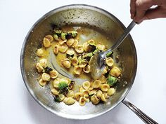 Orecchiette Carbonara with Charred Brussels Sprouts