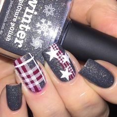 Of course I had to add some stamping to @picturepolish Winter! I've had a picture from google in my inspiration folder for ages, it was simply a grey background with a gingham ribbon and white stars, so I reverse stamped a part from @bornprettystore BP-L006 and stamped the stars (from the same plate) over the top. I wanted a little extra, so I made a decal using an image from @moyou_london Hipster 05.